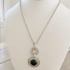 Etienne Aigner Openwork Silver Necklace Black